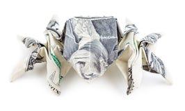 Dolarowy origami pająk odizolowywający Zdjęcie Stock