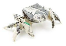 Dolarowy origami pająk odizolowywający na białym tle Obraz Stock