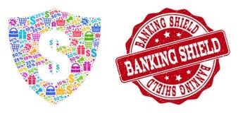 Dolarowy osłona skład mozaika i Drapający znaczek dla sprzedaży ilustracji