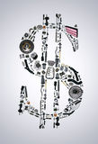 Dolarowy pieniądze z auto częściami dla samochodu Obraz Royalty Free
