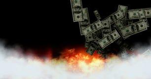 Dolarowy pieniądze zauważa palenie w ogieniu royalty ilustracja