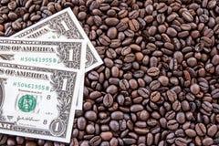 Dolarowy pieniądze na kawowych fasoli tle Obraz Stock