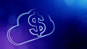 Dolarowy podpisuje wewnątrz emblemat monitor Finansowy tło świecące cząsteczki 3D pętli animacja z głębią pole, bokeh zdjęcie wideo