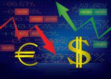 Dolarowy przyrost, Euro spadek ilustracja Obrazy Stock