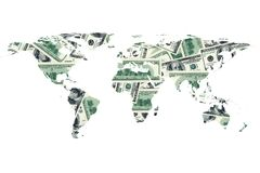 Dolarowy rachunek i światowa mapa obrazy stock