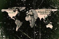 Dolarowy rachunek i światowa mapa obraz stock