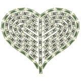 dolarowy serce Fotografia Stock