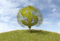 Dolarowy symbol na drzewie ilustracja wektor