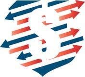 Dolarowy symbol z strzała Obrazy Stock