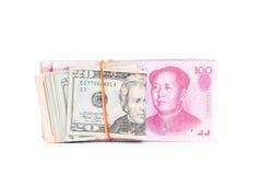 Dolarowy usa i RMB chińczyk Obrazy Royalty Free