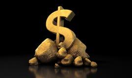 dolarowy złoto odizolowywający szyldowy biel Zdjęcia Stock