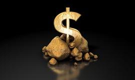 dolarowy złoto odizolowywający szyldowy biel Fotografia Royalty Free
