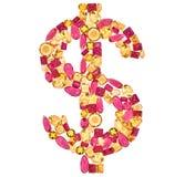Dolarowy znak Bogactwa Finansowy pojęcie Projekta Gemstone Obrazy Royalty Free