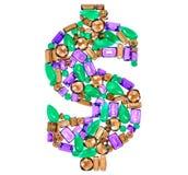 Dolarowy znak Bogactwa Finansowy pojęcie Projekta Gemstone Fotografia Stock