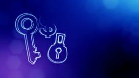 Dolarowy znak i emblemat kędziorek i klucz Finansowy tło świecące cząsteczki 3D bezszwowa animacja z głębią zbiory wideo