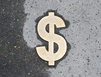 Dolarowy znak na asfalcie Obraz Stock