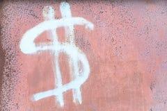 Dolarowy znak na ścianie Zdjęcie Stock