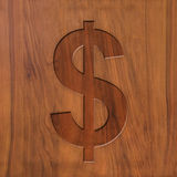 Dolarowy znak na drewnie ilustracja wektor