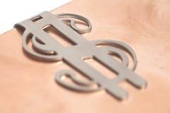 Dolarowy znak na metalu tle Zdjęcia Royalty Free