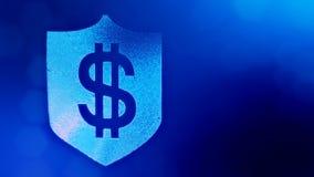 Dolarowy znak na osłonie Finansowy tło świecące cząsteczki 3D pętli animacja z głębią pole, bokeh i zbiory