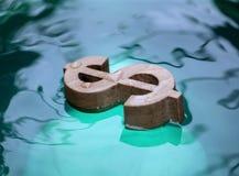 Dolarowy znak na wodzie Fotografia Royalty Free