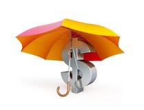 Dolarowy znak pod parasolem ilustracja wektor