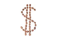 Dolarowy znak robić kawowe fasole Obrazy Royalty Free