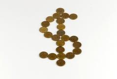 Dolarowy znak rysujący z monetami Zdjęcia Stock