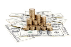 Dolars and coins Stock Image