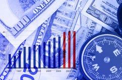 dolars för affärsdiagram Arkivfoto