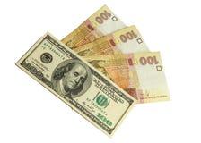 Dolars och hryvniapengar Arkivbilder