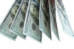 Dolary, banknoty na białym tle Odg?rny widok obrazy stock