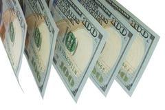 Dolary, banknoty na bia?ym tle Odg?rny widok fotografia royalty free