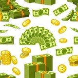 Dolary, centu pieniądze banknoty i złoci centy ukuwają nazwę ikona bezszwowego wzór ilustracja wektor