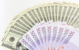 dolary euro Zdjęcia Stock