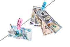 Dolary, euro i ruble, Obraz Royalty Free