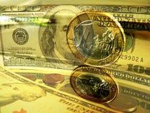dolary euro pieniędzy Zdjęcia Stock