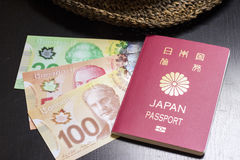 Dolary kanadyjscy i Japoński paszport Obrazy Stock