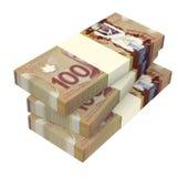 Dolary kanadyjscy pieniądze odizolowywającego na białym tle Obrazy Royalty Free