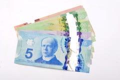 Dolary kanadyjscy waluta banknotów na bielu Obrazy Royalty Free