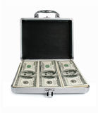 dolary odizolowywającej pieniądze srebra walizki Zdjęcie Royalty Free
