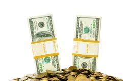 Dolary odizolowywający i monety Zdjęcia Royalty Free