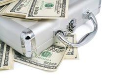 dolary pieniądze paczek srebnej walizki Zdjęcia Royalty Free