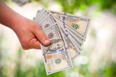 Dolary rachunków w ręce Obraz Royalty Free