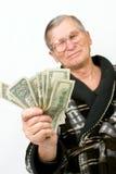 dolary starych mienie szczęśliwych mężczyzna obrazy stock