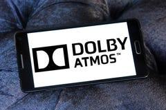 Dolby atmos sound technology logo. Logo of dolby atmos sound technology on samsung mobile phone.Dolby Atmos is the name of a surround sound technology announced royalty free stock photo