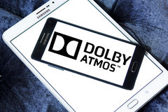 Dolby atmos sound technology logo. Logo of dolby atmos sound technology on samsung mobile phone.Dolby Atmos is the name of a surround sound technology announced Royalty Free Stock Image