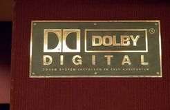 Dolby Digital logo outside of a movie theater. SAN FRANCISCO, CA – APRIL 21, 2018: Dolby Digital logo outside of a movie theater royalty free stock photography