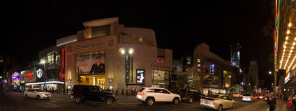 Dolby Theater on Hollywood Boulevard. In Los Angeles at night stock images