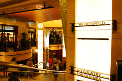 The Dolby Theater, where the Academy Awards are presented. The lobby of the Dolby Thearter is lines with the names of the Best Picture Oscar winners stock images